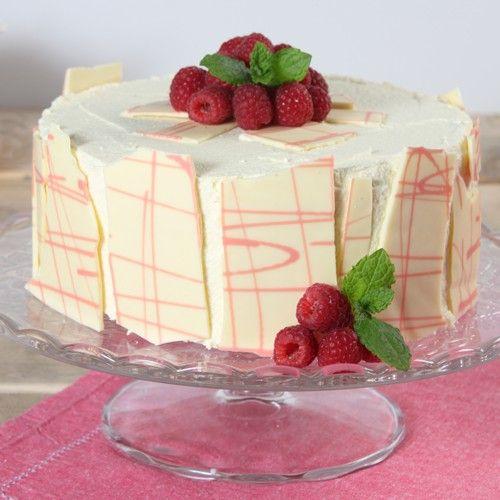 Witte chocolade taart met frambozen