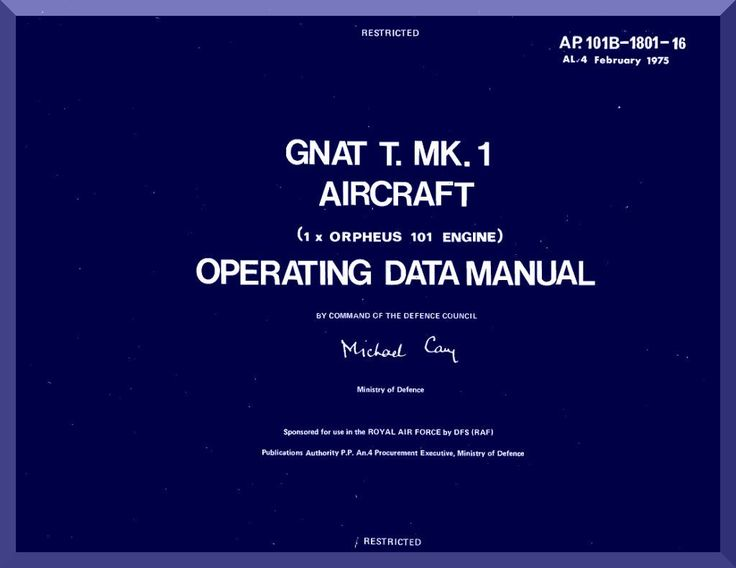 Folland Gnat Aircraft Operating Data Manual - Aircraft Reports - Aircraft Helicopter Engines Propellers Manuals Blueprints Publications