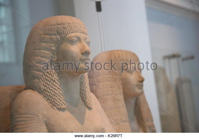 Detail of statues of General Horemheb and his wife (presumably his first wife, Amenia) from Saqqara on display at the British Museum in Bloomsbury on October 14, 2016 in London, Great Britain, United Kingdom. - Stock Image