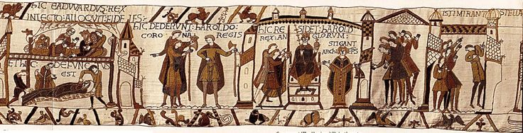 Bayeux Tapestry S15. Harold is crowned King of England. (Haley's Comet appears.)
