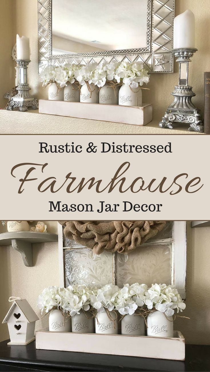 This rustic mason jar centerpiece is stunning! Would look beautiful as farmhouse decor or on a mantle. Love the neutral colors and floral pieces. #farmhouse #rustic #decor #afflink