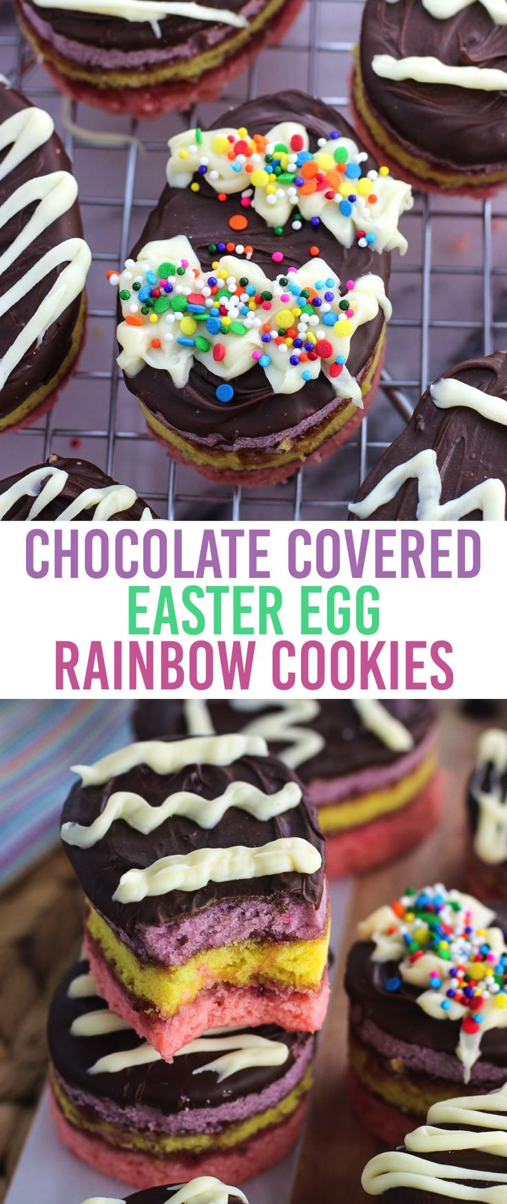 Enjoy rainbow cookies (or tricolor cookies, or seven layer cookies...) for Easter with these Chocolate-Covered Easter Egg Rainbow Cookies! The classic dessert of spongy almond layers and raspberry jam is updated with spring colors, egg shapes, and Easter egg decorations. A festive Easter dessert recipe!