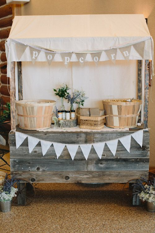 Vintage-inspired popcorn stand - love it! photos by Bryan and Mae | via junebugweddings.com