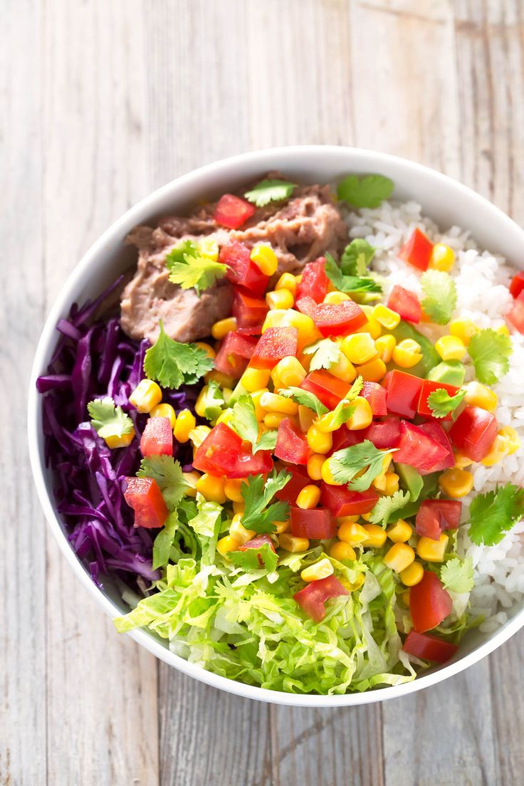 This burrito bowl is so tasty and satisfying. It's also a great way to use up leftovers and it can also be a great lunch box recipe.