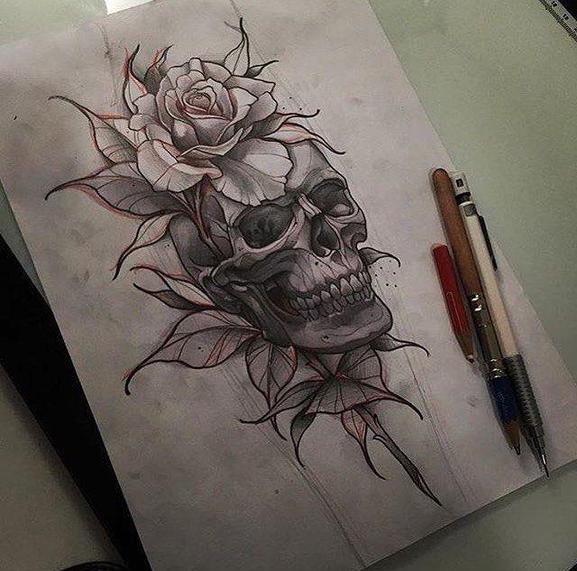 Tattoo caveira com rosas