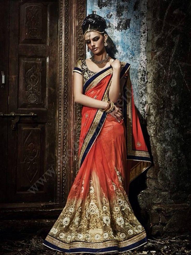 Рыжее красивое индийское сари из креп-жоржета и фатина