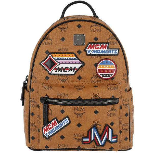MCM Shoulder Bag - Star Victory Patch Visetos Backpack Small Cognac -... ($1,250) ❤ liked on Polyvore featuring bags, brown, mcm bag, brown bag, brown shoulder bag, backpack shoulder bag and mcm backpack