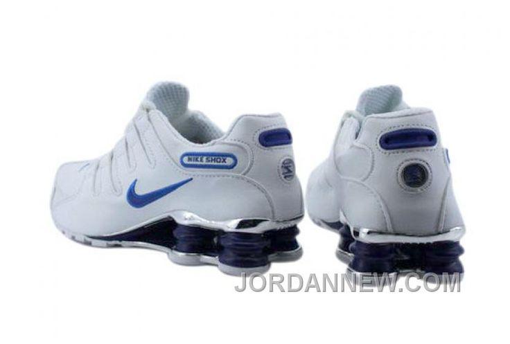 Men's Nike Shox NZ Shoes White/Blue/Dark Blue/Silver Online