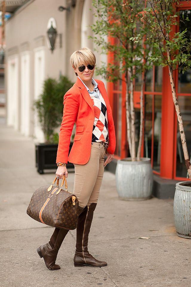 Equestrian   SEERSUCKER   SADDLES Orange Blazer+Argyle sweater+Camel pants fitted boots+LV