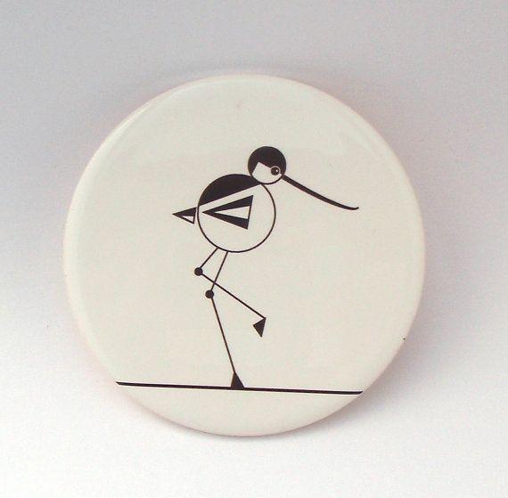 Round Ceramic Avocet Coaster with Cork Backing by Giddy Sprite.  www.giddysprite.com