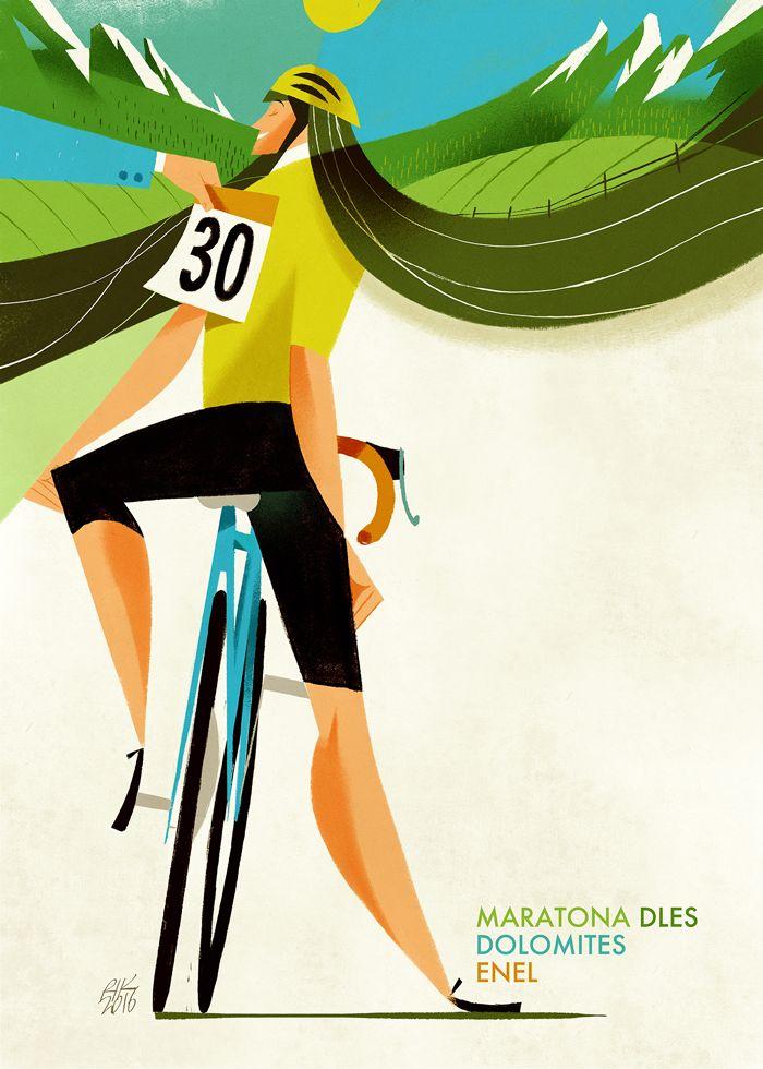 """Maratona dles Dolomites - Enel 2017. Riccardo """"Rik"""" Guasco (1975) - Le donne (2016). Illustratore e artista, Rik per i trent'anni della manifestazione, ha realizzato trenta tavole dedicate ai momenti più caratterizzanti della corsa: partenza, arrivo, passi, ciclisti, montagne, volontari, sponsor, alberi, nuvole, strade, folla, bici, entusiasmo, sole, fatica, ristori…"""