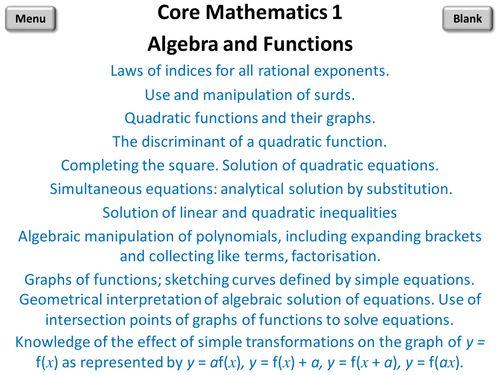 Core Mathematics 1 PowerPoint