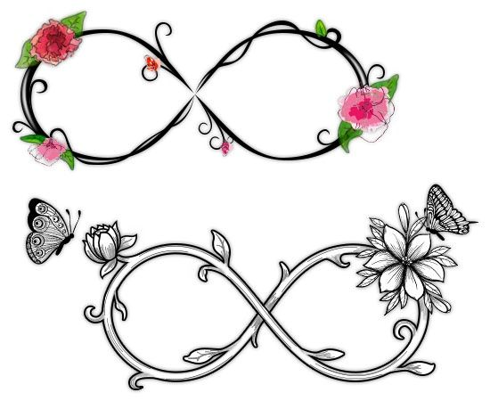 Watercolor Flowers with Infinity Symbols Tattoos