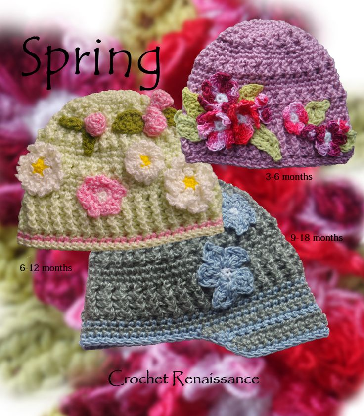 Spring Flower Hats - crochet pattern.  Sizes, baby, toddler and child.  Super cute and fun to make. www.etsy.com/shop/crochetrenaissance and www.ravelry.com/people/crochet41to5s