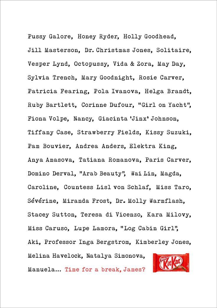 Read more: https://www.luerzersarchive.com/en/magazine/print-detail/kitkat-60695.html KitKat Ad for KitKat to mark the release of the latest James Bond movie. Tags: JWT (J. Walter Thompson), London,Dave Dye,Chris Hutton,KitKat,Alexander Ball,Ronnie Vicek