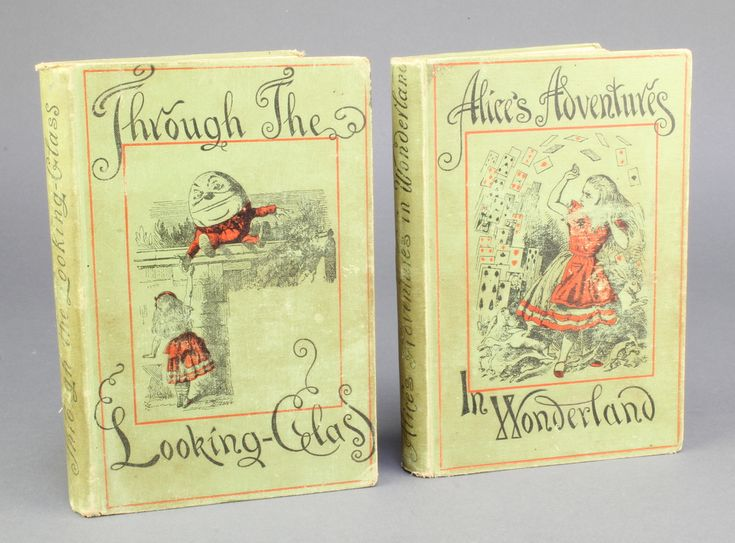 """Lot 354, Lewis Carroll, people's edition, """"Alice in Wonderland"""" published by the Macmillan Co. 1887 together with 1 other """"Through The Looking Glass"""" 1887, some foxing est £30-50"""