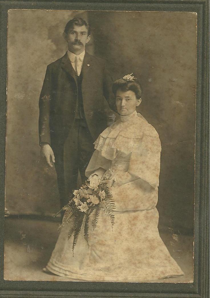 Vintage CABINET Photo Bride and Groom Black and White 1900s WEDDING Texas Koehler