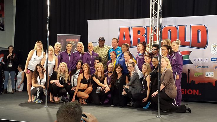 #XPole and #PCS2016 competitors posing with Arnold Schwarzenneger at The Arnold Classic Africa 2016 #poleatthearnold #ACA2016 #inpoleposition
