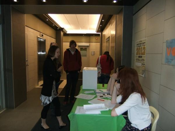 A polling station at Calgary's Discovering Choices School. They had voter turnout of 96%!
