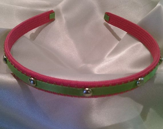 Pink and Green Headband with silver Studs by Hairotics on Etsy, $10.95