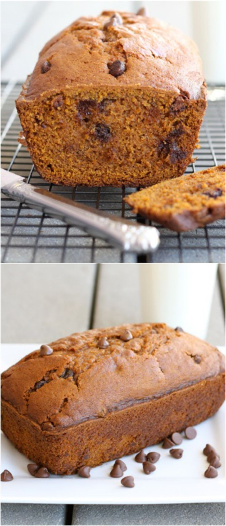 The BEST Pumpkin Chocolate Chip Bread Recipe on http://twopeasandtheirpod.com You have to make this bread!