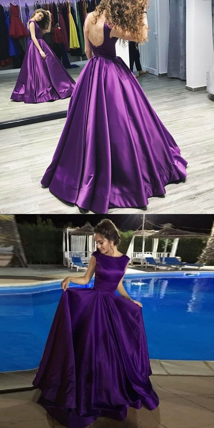 elegant purple prom party dresses with backless, fashion formal evening gowns, party dresses.