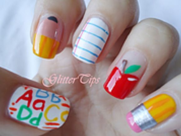 Glitter Tips: Back To School Nails - for my teacher friends - 58 Best Back To School Nail Designs Images On Pinterest School