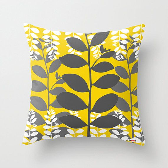 Decorative throw pillow cover leafs  Yellow and grey by thegretest, $55.00