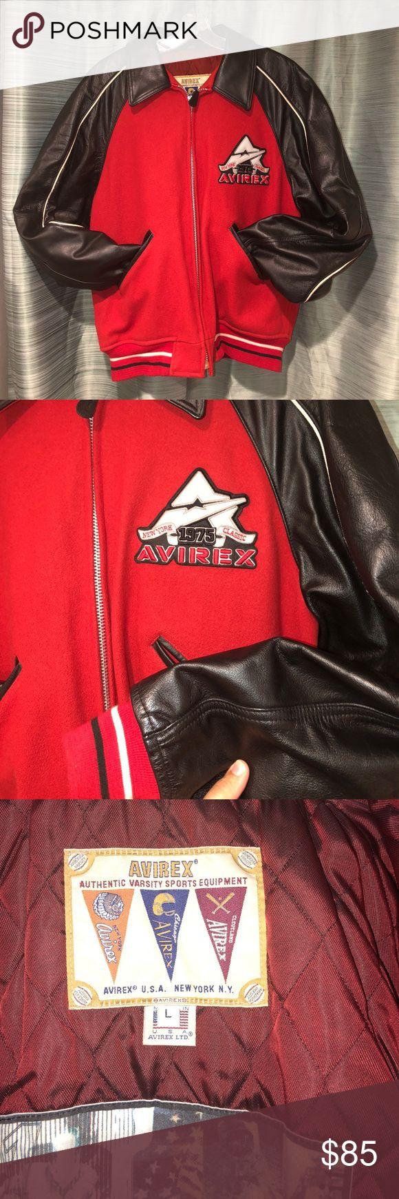Men's Leather Bomber Heavy leather bomber jacket, black leather, red wool. EUC. Avirex Jackets & Coats Bomber & Varsity