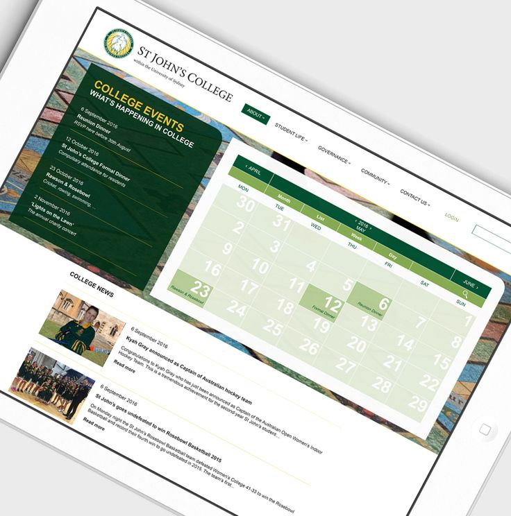 St John's College website design + build – editable calendar of events