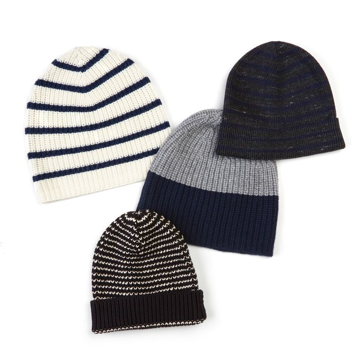 Striped Beanies. A light blend of cotton and linen and a stripe motif that nods to nautical makes this beanie a versatile pick, whatever the season.