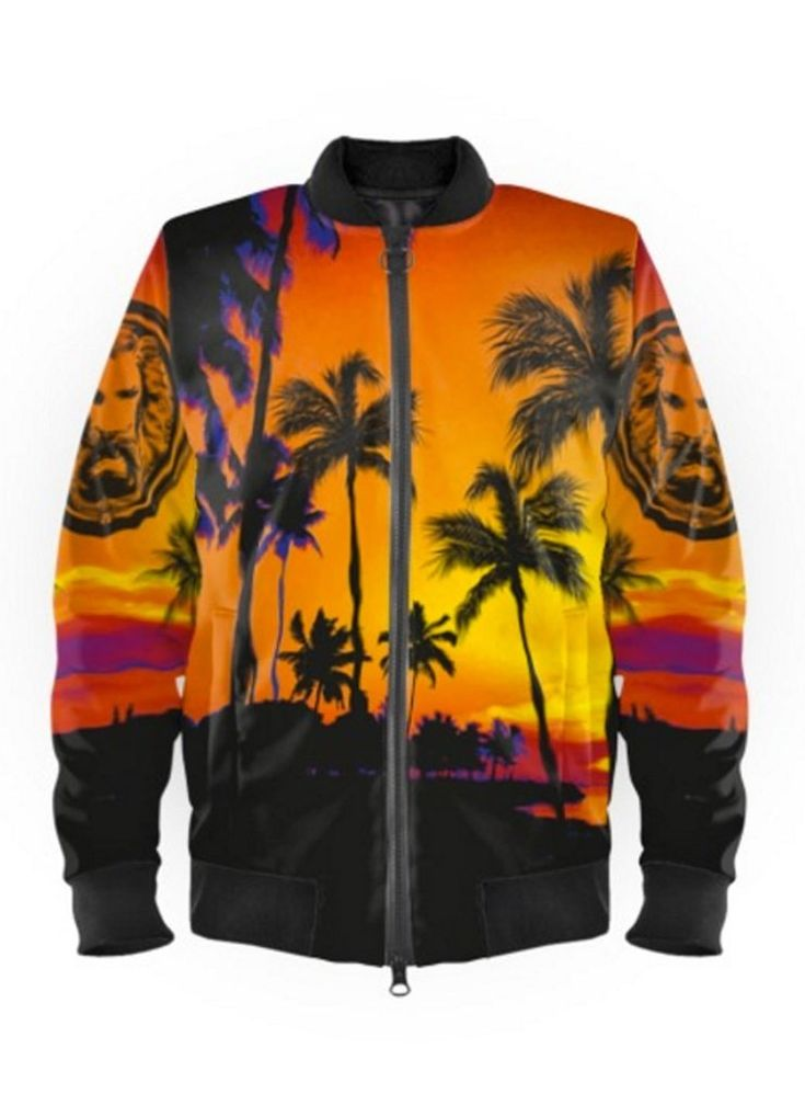 Chaqueta bomber de playa negra y naranja para hombre