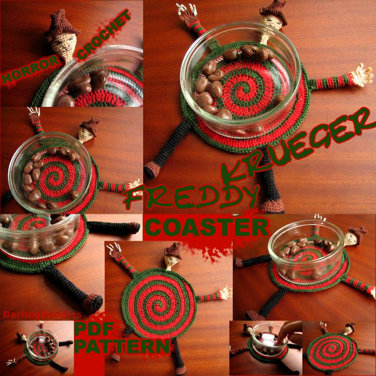 (4) Name: 'Crocheting : Freddy Krueger coaster - HoRRoR Theme