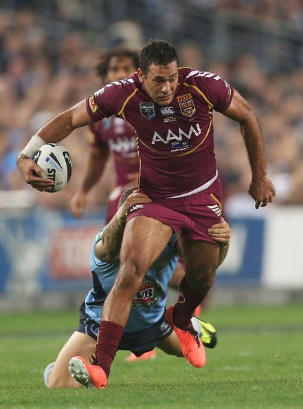 Justin Hodges of the Maroons is tackled during game one of the ARL State of Origin series between the New South Wales Blues and the Queensland Maroons at ANZ Stadium on June 5, 2013 in Sydney, Australia.