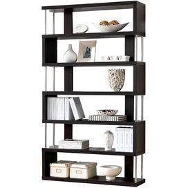 Contemporary bookcase with six layered shelves and steel accents.  Product: BookcaseConstruction Material: Engineered wood and steel Color: Cappuccino and silver    Features: Six shelves Dimensions: 75.2 H x 43.3 W x 11.4 D   Cleaning and Care: Wipe with a damp cloth