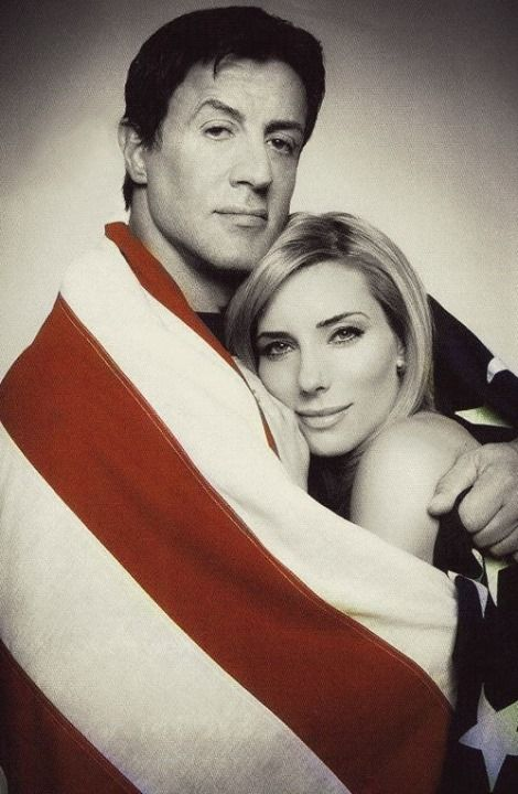 Sylvester Stallone, Sly Stallone, Rocky, Rambo, actor, hero, love, couple, hug, Jennifer Flavin, U.S. flag, nice, romantic