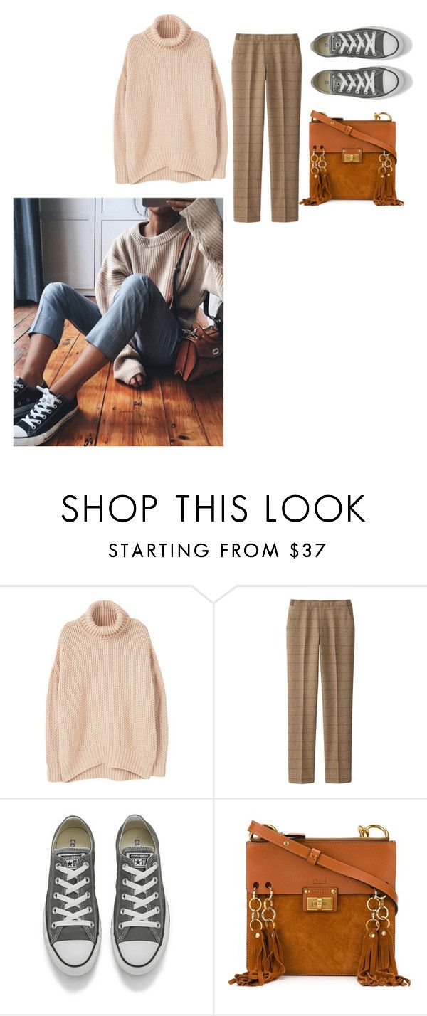 """💙💜"" by joe-khulan on Polyvore featuring MANGO, Uniqlo, Converse and Chloé"