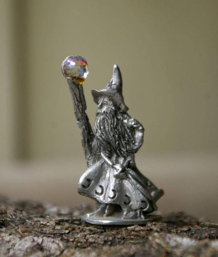 """4013 CCI 1990 2"""" Tall Pewter Wizard Figure Signed CC Clear Faceted Prismatic Orb    eBay"""