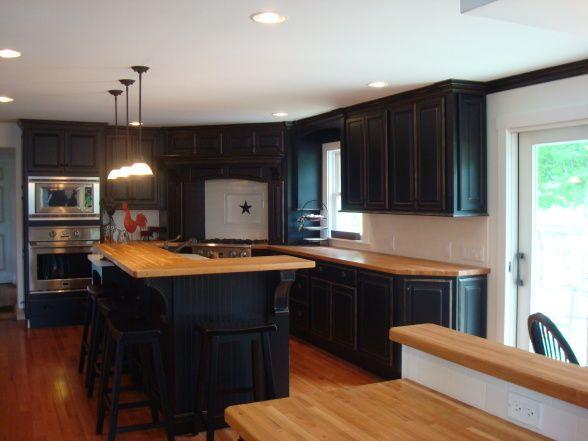 Black Kitchen Cabinets With Butcher Block Counters : 50 best images about Butcher Block Counter Top on Pinterest Islands, Wood kitchen countertops ...