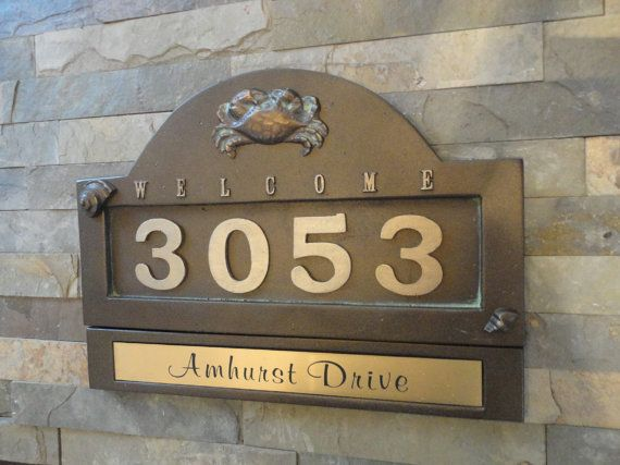 Nautical Crab HOUSE NUMBERS / Beach Cottage Address Plaque & Name Plate Set / Wedding Gift Set / House Warming Gift Set
