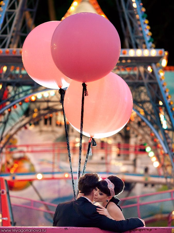 Pink balloons in Paris by Eiffel Tower