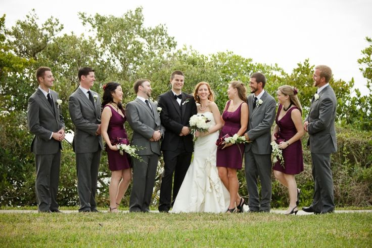 purple and gray wedding party with classic white and black bride and groom colors.