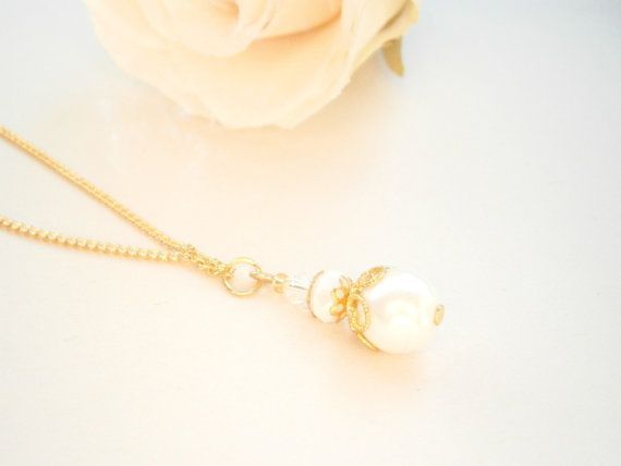 June Birthstone Necklace  Glass Pearl Pendant  by GlamorousSparkle, €12.00