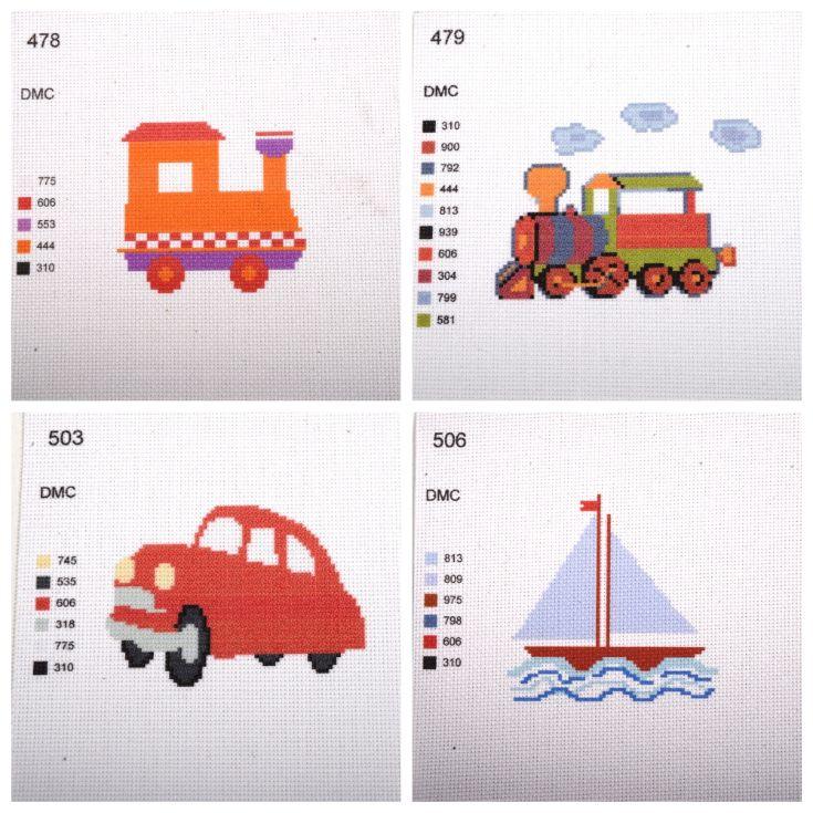 вишивка хрестиком дитяча маленька, канва з малюнком вышивка крестиком для детей маленькая, канва с рисунком кораблик, машина, паровоз