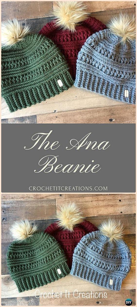 DIY Crochet Beanie Hat Padrões Livres Bebê Inverno Hat
