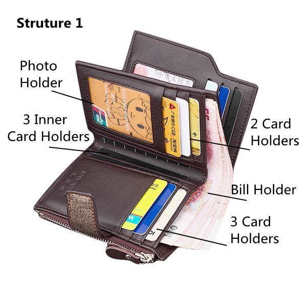 15 Card Slots Wallet PU Leather Short Card Holder Documents Bag Coin Bag For Men