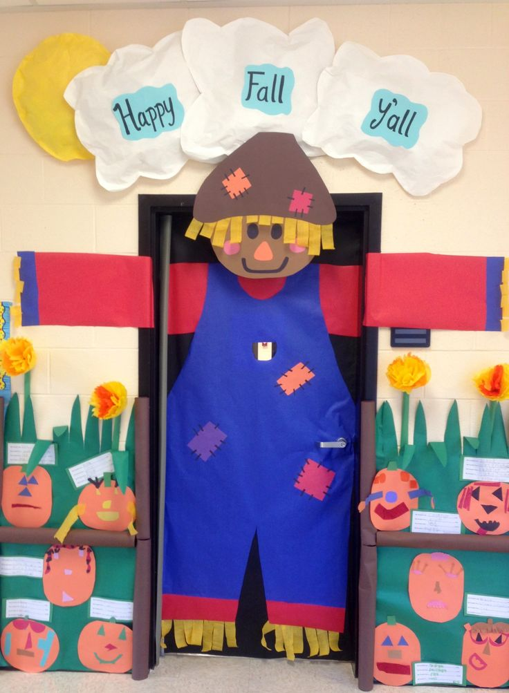 Big scarecrow for fall classroom door decor {Pin doesn't lead anywhere but this is adorable}