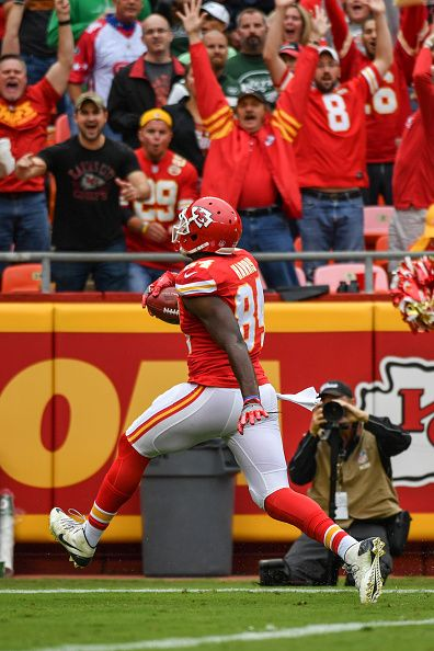 Tight end Demetrius Harris of the Kansas City Chiefs runs in to the end zone after recovering a fumble against the New York Jets at Arrowhead Stadium...