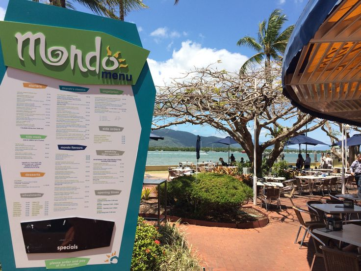 http://www.urbanspoon.com/r/350/1606673/restaurant/Queensland/Mondo-Cafe-Bar-Grill-Cairns  A FAB PLACE FOR LUNCH!