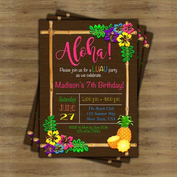 Luau Invitation; Luau Birthday Invitation; Hawaiian Invitation; Hawaiian Party Invitations; Tropical Invitation; Tiki Party Invitation